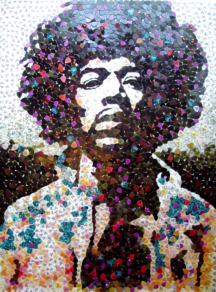 Jimi Hendrix, portrait fait de plectres